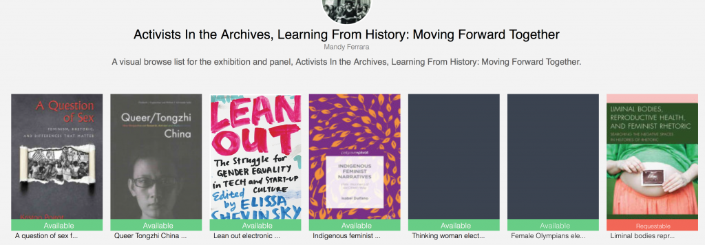 Visual Browse. A visual browse list of printed and electronic books related to women's history and activism.