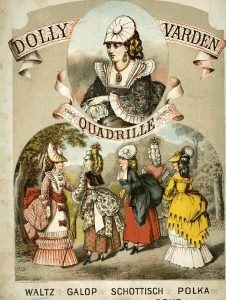 19th century colored illustration of Dolly Varden dresses