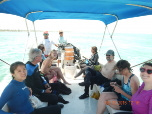 The Coral Ed ladies off to do dive research with the professors and dive masters at Mexico Rocks