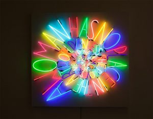 Creator: Deborah Kass; Date: 2010; Location: exhibited at Paul Kasmin Gallery, Fall 2010; Material: neon and transformers on powder-coated aluminum panel; Measurements: 66 x 68 x 5 inches