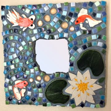 mosaic mirror with fish and a lily pad