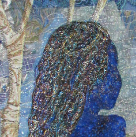 Crop of Quilt of a woman in shadow staring into the distance lit by the moon