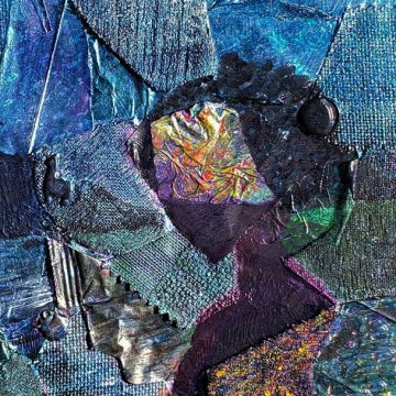 Painted collage of a black woman staring thoughtfully towards a stream