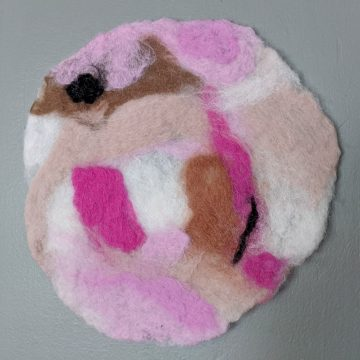 pink, brown and white wool felt painting