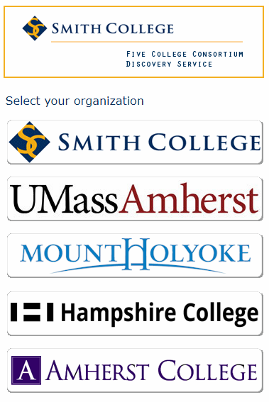 Select organization (for Five Colleges users)