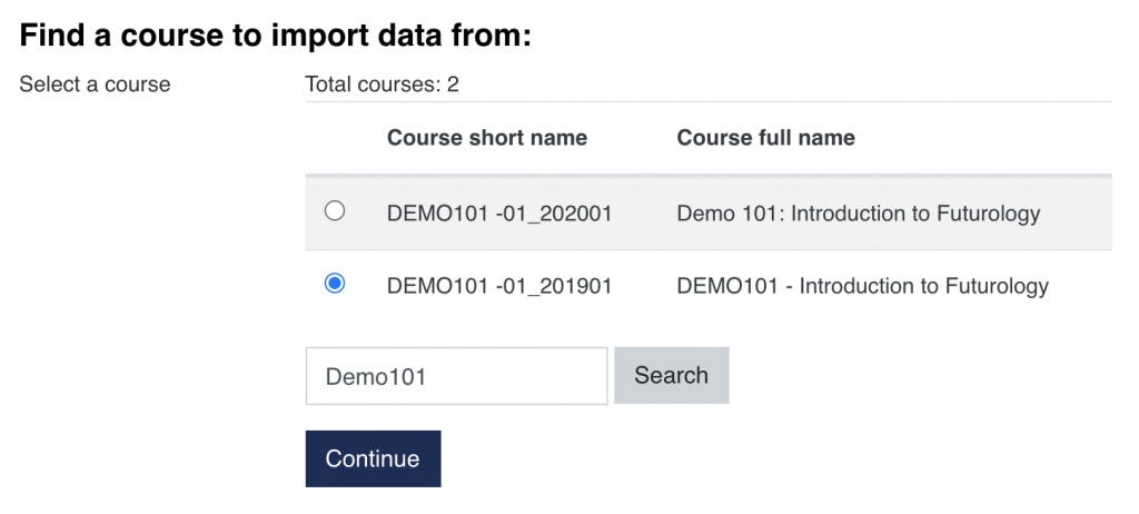 Select course to import data from