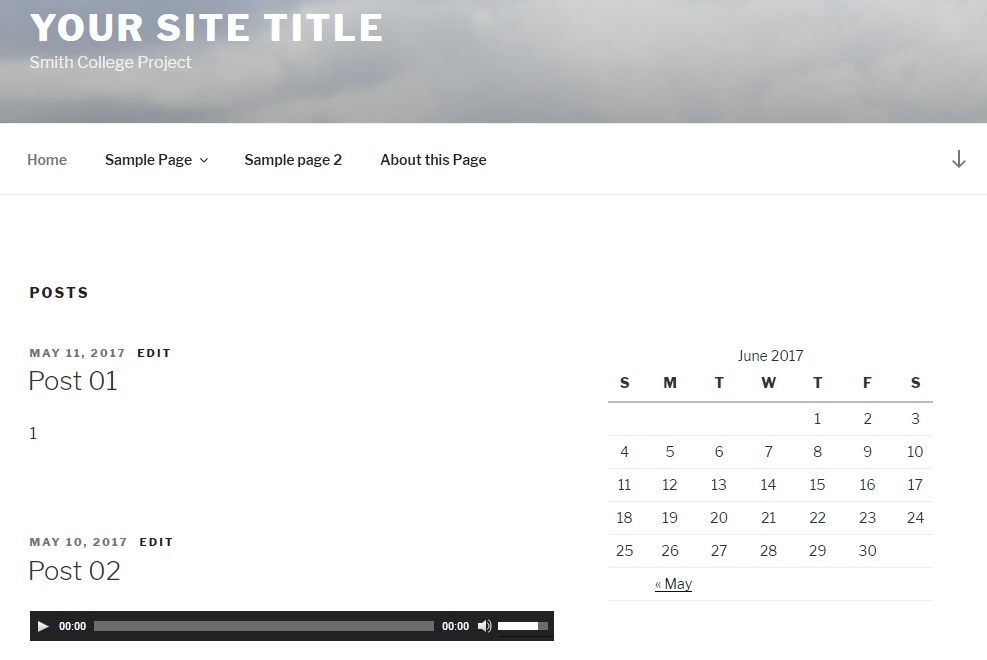 An image of a calendar added to a site