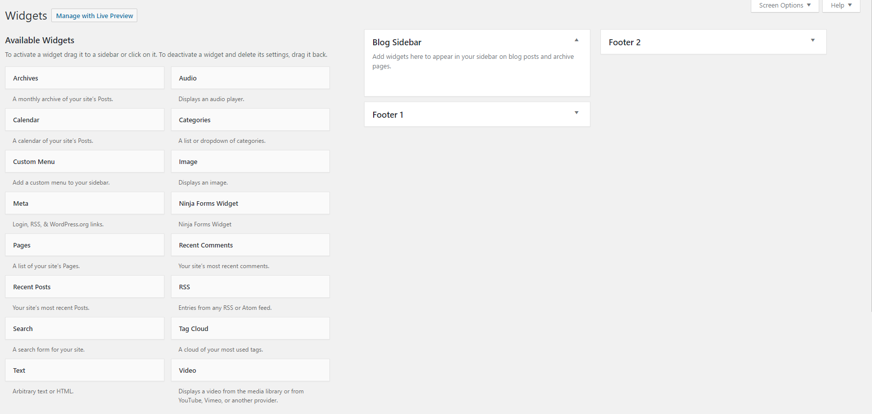 An image of the WordPress widgets page