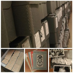 image of rows of archival boxes, image of box of microfilm, image of three photographs