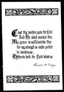 image of page from YWCA anniversary program showing a prayer with Miss Dodge's signature