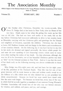 Image of page from the Association Monthly announcing Miss Dodge's death