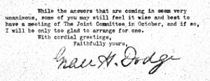 image of a note sent by Grace Dodge with her signature