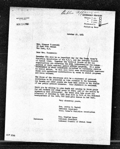 image of letter to Eleanor Roosevelt