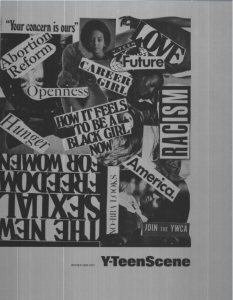 digitized image of a Y-Teen Scene cover that is a collage of words and pictures
