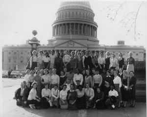 black and white photograph of Y-Teens group photograph in front of the capital building