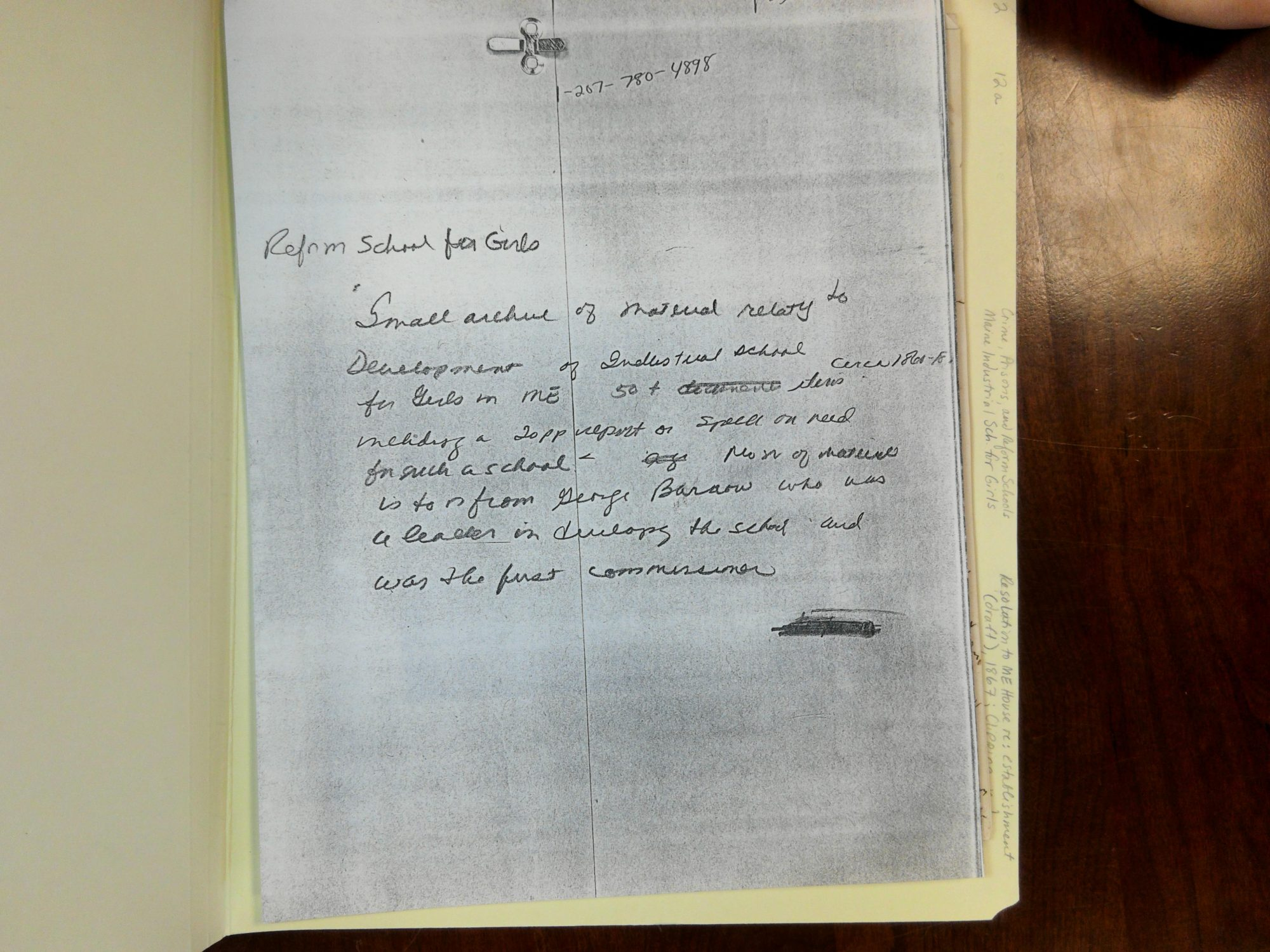 Photocopied image of handwritten text.