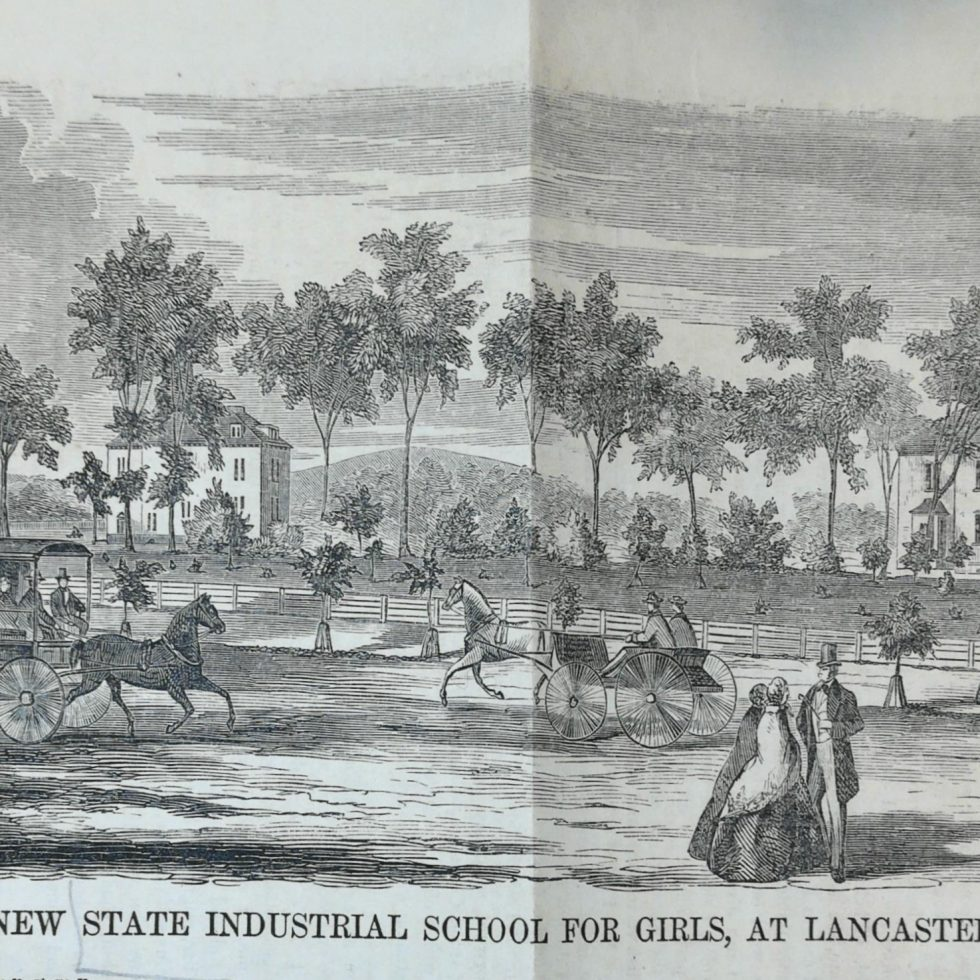 Newspaper sketch of people, horse-drawn buggies, and Lancaster's buildings.