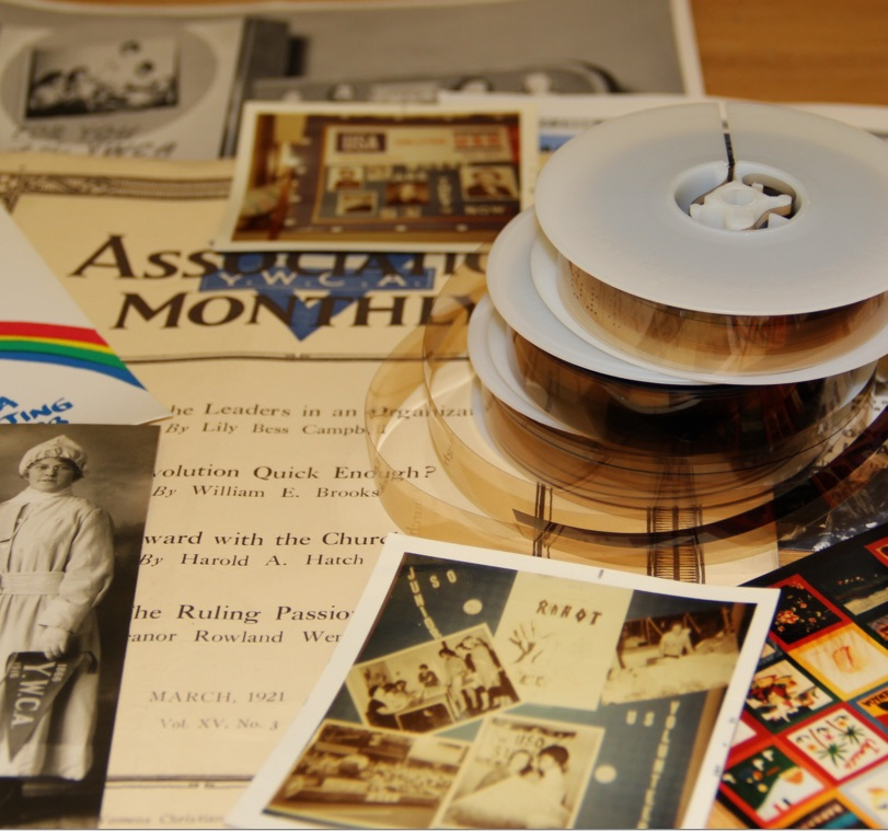 photograph of archival materials on a table.