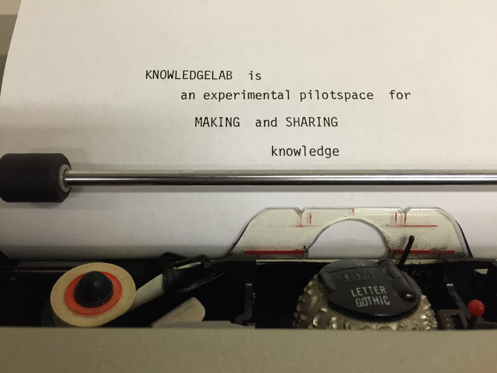 KNOWLEDGELAB is an experimental pilot space for for MAKING and SHARING knowledge
