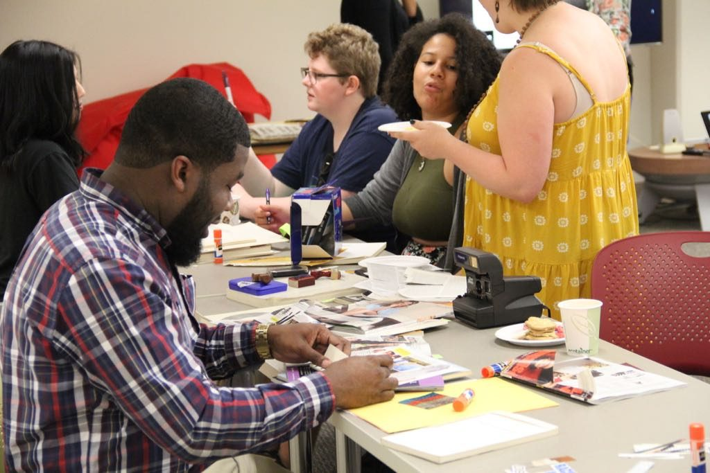 Several participants in the zine-making workshop