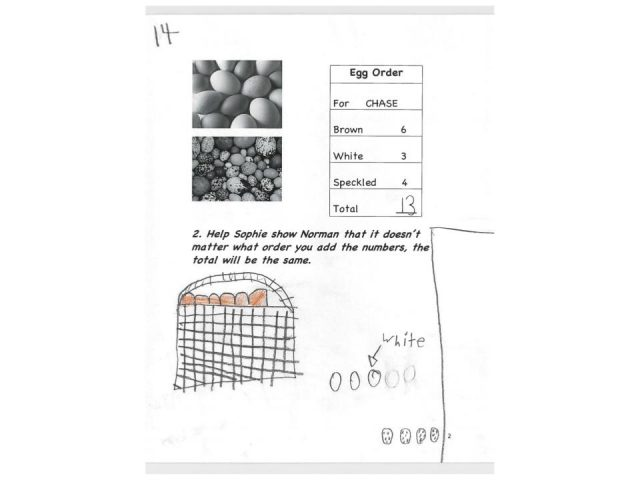 Image of Student 14's work on Problem 2 for the Eggs Story