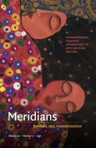 Image description: a painting of 2 women with dark hair, brown skin, and closed eyes sleep side by side under a colorful quilt is the cover of the new Meridians issue. Image by Malak I. M. Matar