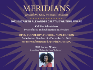 A purple sunburst backgrounds the text of the award along with the image of a Black Woman in an orange dress, winner of last year's award.