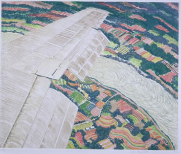 Winging It, Spring. 1990 Etching printed in pale yellow, blue‑green, tan, light red and yellow‑green on white wove paper Sheet: 25 3/8 x 25 1/8 in.; image: 15 7/8 x 19 inches