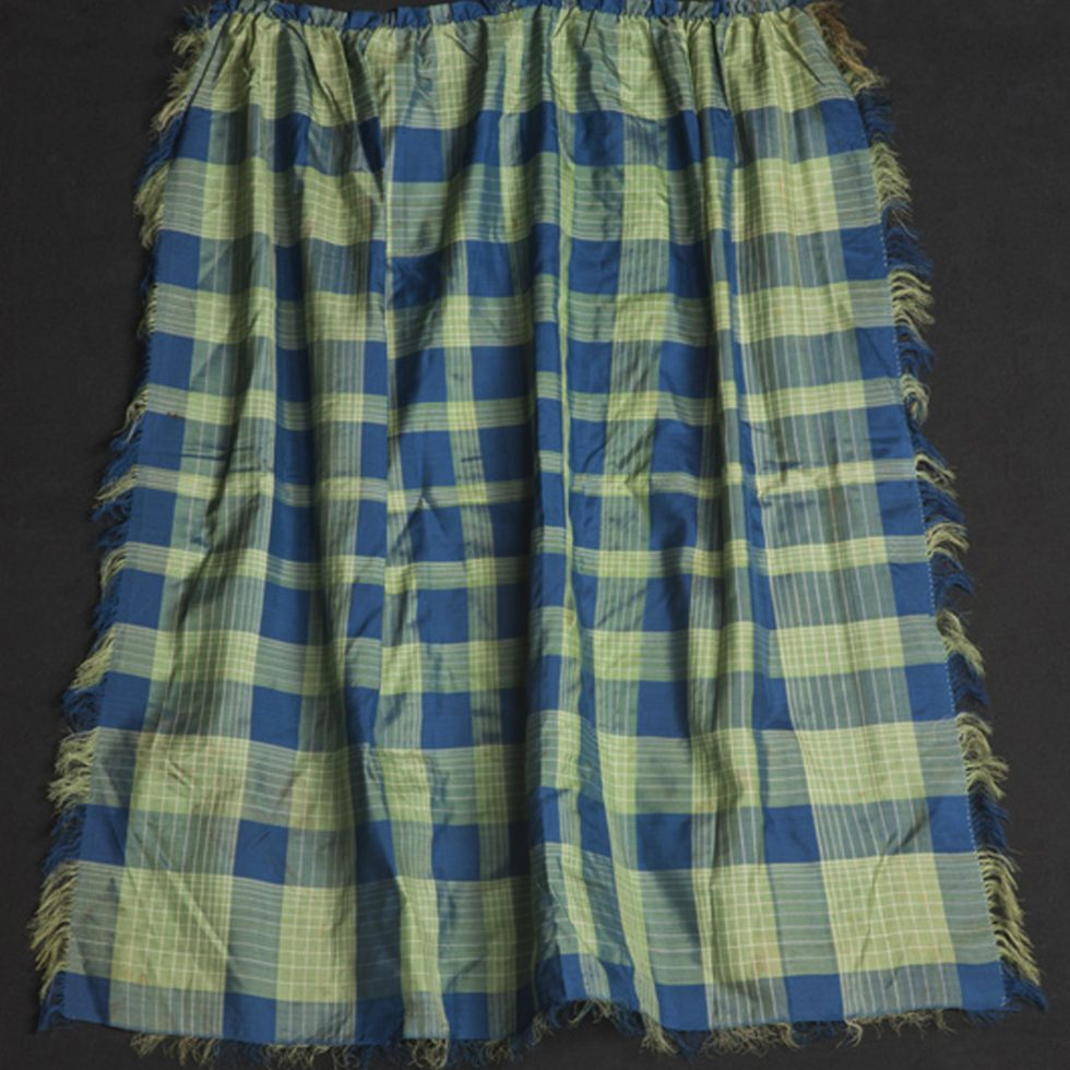 Blue and Green Silk Apron. Checkered Pattern.