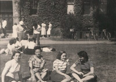 1950 or 51 Marge Kellogg in background Interracial group on lawn