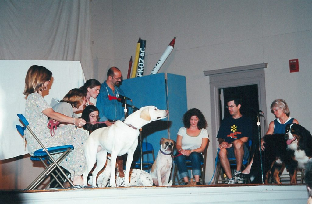 stage photo with actors and dogs